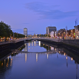 Twilight on the River Liffey by Holly Lent - City,  Street & Park  Street Scenes ( ireland, dublin, twilight, river liffey, ha'penny bridge,  )