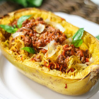 Spaghetti Squash With Easy Meat Sauce
