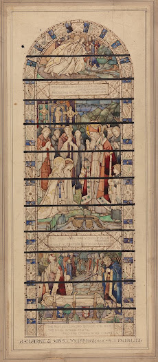 This drawing depicts a scene from the life of St Patrick, in which the two daughters of the King of Connaught converted to Christianity after meeting the saint. They were baptised, and died after receiving the Eucharist. The scene at the bottom of the drawing depicts the two maidens lying on their biers, mourned by the King and his noblemen. The drawing uses intricate interlace and Celtic revival motifs as framing devices, which were particularly popular during the early part of the 20th century in Ireland.
