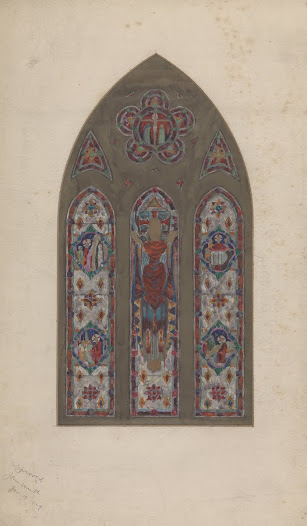 This is a colour scheme for the window of the Ascension of Christ in Skryne Church. Colour schemes were created to give an indication of how the blocks of colour would appear in the stained glass windows. However, the Studios were always at pains to indicate to their clients that these colour sketches could never convey the final effect of the actual stained glass in the church.