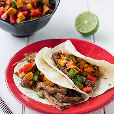 Chipotle Maple BBQ Brisket Tacos with Sweet Potato Salsa