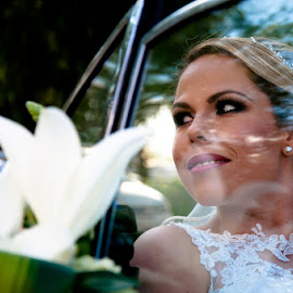 In the Car by Luis Photojournalist - Wedding Bride ( bouquet, wedding photography, wedding, wedding dress, wedding photographer, bride )