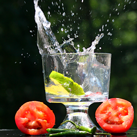 by Dipali S - Food & Drink Fruits & Vegetables ( water, tomato, fresh, glass, pepper, green chili )
