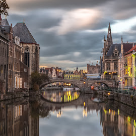 Ghent by Stephen Bridger - City,  Street & Park  Historic Districts ( clouds, reflection, europe, old town, belgium, architecture, travel, gent, long exposure, medieval, travel photography, ghent, river )