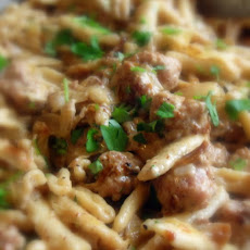 Creamy Mustard Sausage and Pasta Hot Dish