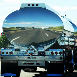 Reflecting from a gas tanker. by Melinda M - Transportation Other