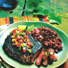 Spicy Barbecued Rib-Eye Steaks with Smoked Vegetable Salsa