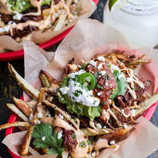 Tijuana Street Fries (Honey Glazed Chipotle Carnitas, Fries + Toppings).