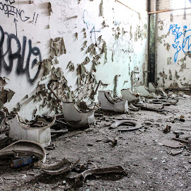Bathroom Break?! by Ashley McCuen - Buildings & Architecture Decaying & Abandoned ( interior, building, busted, beauty, broken, michigan, looted, graffiti, toilets, ruins, detroit, locker room, downtown, abandoned, decay )