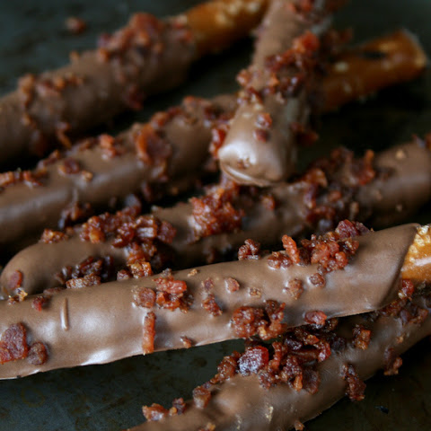 Chocolate Covered Pretzels with Maple Smoked Bacon Crumbles