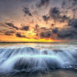 my wave by Agus Eka Kurniawan - Landscapes Waterscapes ( colour, bali, sky, waterscape, sunset, wave, sea, cloud, rock, beach, landscape, sun )