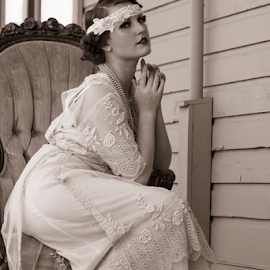 A beautiful bride... by Tina Stanley - Wedding Bride ( oregon, beautiful, scroggins mill, beauty, lebanon, pretty, 1920's, classy, flapper dresses, gorgeous, woman, head dresses, lady, 1920's era, flappers )