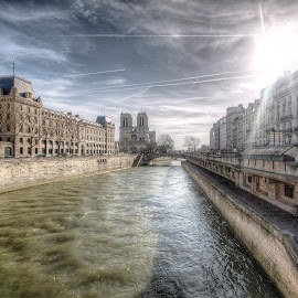 seine river - paris by Ben Hodges - City,  Street & Park  Historic Districts ( paris, louvre, europe, hdr, cloud, france, travel, sun, st michel )
