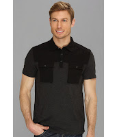 Calvin Klein Jeans - Mixed Media Color Block Polo (Black/Charcoal) - Apparel