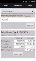 Screenshot of SA Tax Calculator
