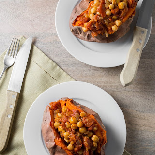 Sweet Potatoes with Chickpea Tomato Sauce