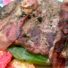 Grilled Green Chile-Stuffed Pepper Steaks Wrapped in Bacon