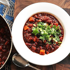 Vegan Sweet Potato and Two Bean Chili With Hominy