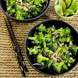 Easy Thai-Flavored Raw Broccoli Salad with Red Onion, Mint, and Peanuts