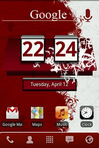 Red Honeycomb Clock Widget