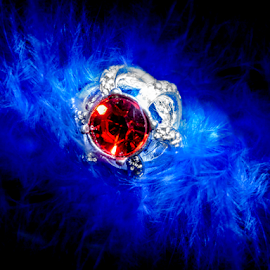by Mia-Marija Ljoka - Artistic Objects Jewelry ( ring, red, blue, artistic, beautyful, jewelry, girly, object, feathers )