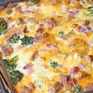 Ham and Broccoli Breakfast Casserole with Extra-Sharp Cheddar