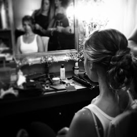 The bride getting her hair made up... Gorgeous! by Julie Dabour - Wedding Getting Ready ( weddingphotography, brides, westsidehaircare, gorgeous, weddings, weddingday, hair, weddinghair )