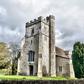 English Church by Karen Colebeck - Buildings & Architecture Places of Worship ( tower, old, church, flint, worship,  )