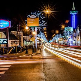 Holidays in Galinburg by IMade Budaryawan - City,  Street & Park  Street Scenes ( galinburg, night photography, night lights, city lights, holidays, long exposure, street scenes, street photography )