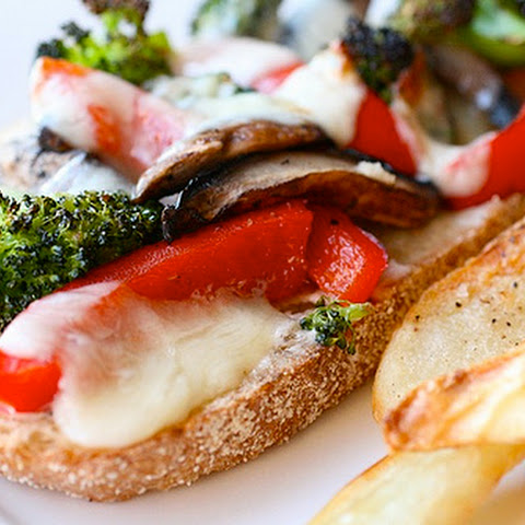 Portobello, Broccoli and Red Pepper Melts