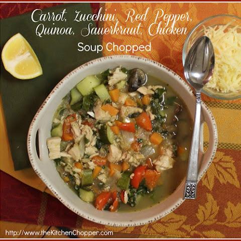 Carrot, Zucchini, Red Pepper, Quinoa, Sauerkraut, Chicken Soup Chopped