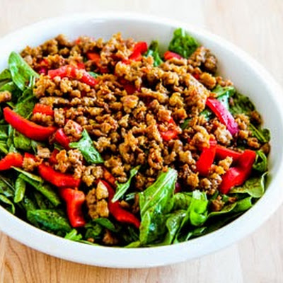 Baby Arugula Salad with Turkey Italian Sausage and Red Pepper Strips