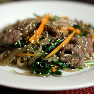 Korean Japchae (Noodles with Spinach, Carrot, and Beef)
