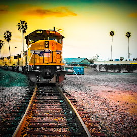 Anaheim tracs by Victor Martinez - Transportation Railway Tracks ( anaheim, railroad, sunset, palms, golden hour )