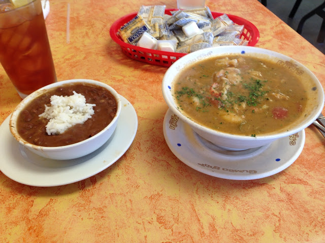 GF seafood gumbo and red beans and rice