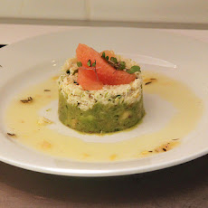 Crab, Avocado and Cucumber Tian with Gazpacho Coulis