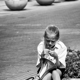 After the gig by Cassandra G - City,  Street & Park  Street Scenes ( music, girl, horn, brass, street photography )