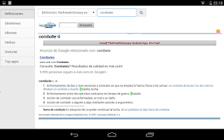 Screenshot of Free Spanish Dictionaries