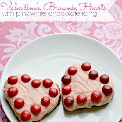 Valentine's Brownie Hearts with White Chocolate Icing