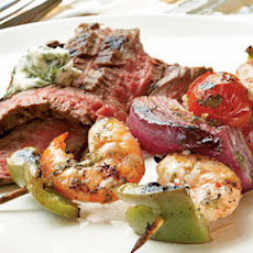 Ginger-Lime Marinated Shrimp Kebabs with Grilled Flank Steak and Cilantro Butter
