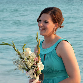 The beautiful Maid of Honor at the Florida wedding by Carmella Dunkin - Wedding Ceremony ( floral bouquet, wedding bouquet, wedding flowers, flowers, floral, brides maid, flower, bouquet )