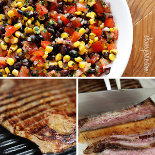 Grilled Flank Steak with Black Beans Corn and Tomatoes