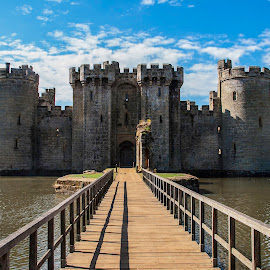 Over the Moat: Bodiam Castle by Emma Vernel - Buildings & Architecture Public & Historical ( castleation, blue sky, moat, castle, bridge, bodiam, sun,  )