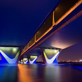 Al Garhoud Bridge by Aamir Munir - Buildings & Architecture Bridges & Suspended Structures ( water reflection, night photography, dubai, bridge )