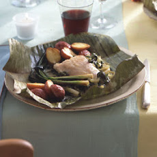 Fish Wrapped in Banana Leaves with Chile Rajas and Crema