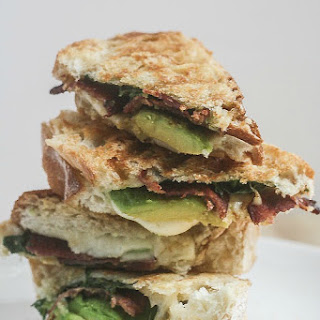 Grilled Jarlsberg with Avocado Spinach and Bacon