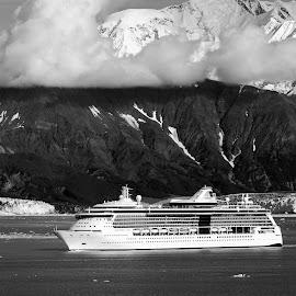 Hubbard Glacier in Alaska. by Dan Dusek - Transportation Boats ( cruiseship, black and white, landscape photography, transportation, cruise,  )