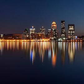 Louisville, Kentucky - Day to night  by Matt McClintock - City,  Street & Park  Skylines ( #skyline #city #refection #river #longexposure )