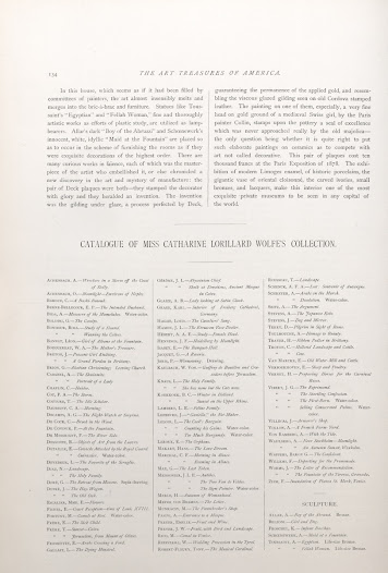 A list of works in Wolfe's collection in the <i>Art Treasures of America</i>.
