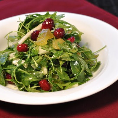 Arugula, Kohlrabi, and Sugared Fresh Cranberries Salad